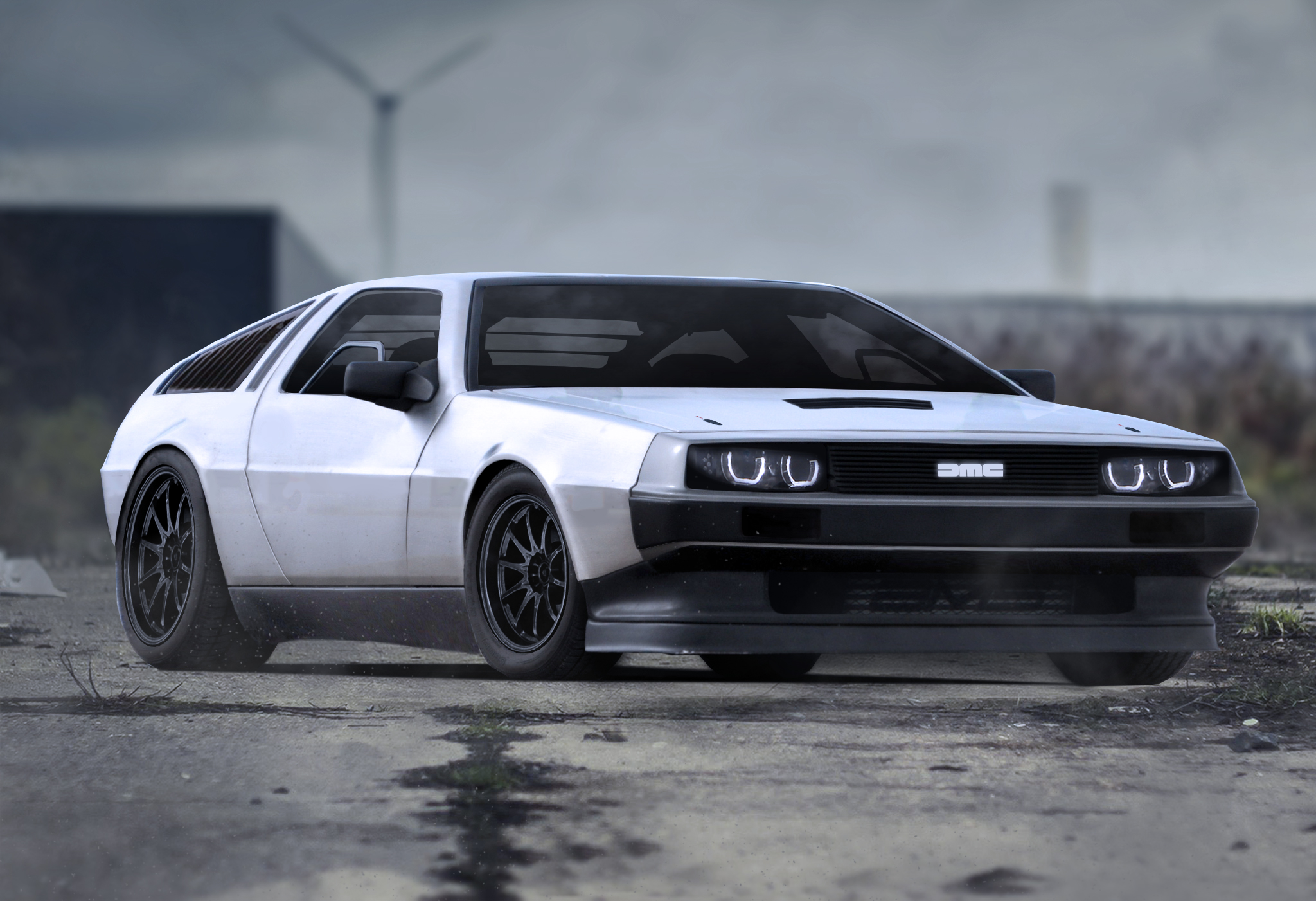 modified delorean photoshop
